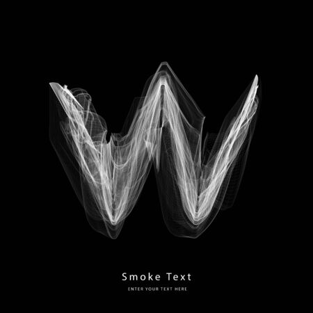 Abstract smoke lower case alphabet letter text art smoky pen brush effect.