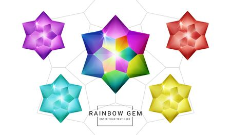 Set of rainbow color fantasy jewelry gems, star flower polygon shape stone for game.