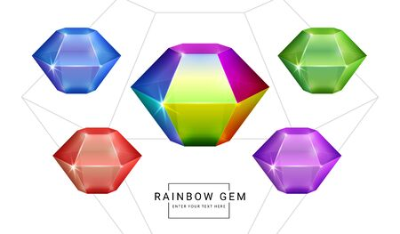 Set of rainbow color fantasy jewelry gems, polygon shape stone for game.