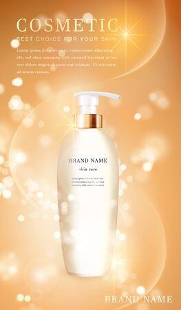 3D transparent cosmetic bottle container with shiny golden glimmering background template banner. Ilustração Vetorial