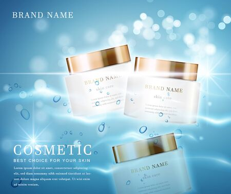 3D elegant cosmetic bottle container with shiny water glimmering background template banner. 스톡 콘텐츠 - 142101264