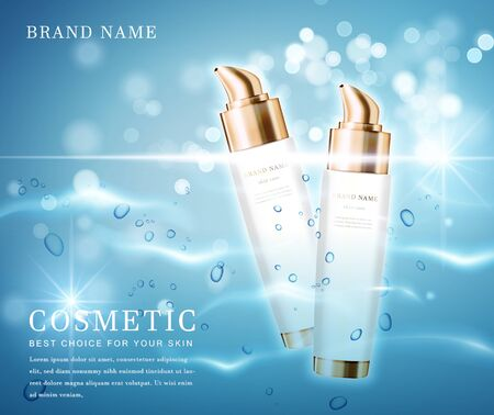 3D elegant cosmetic bottle container with shiny water glimmering background template banner. 스톡 콘텐츠 - 142101317