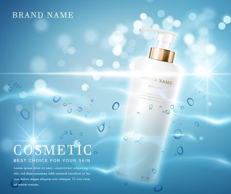 3D elegant cosmetic bottle container with shiny water glimmering background template banner. 일러스트