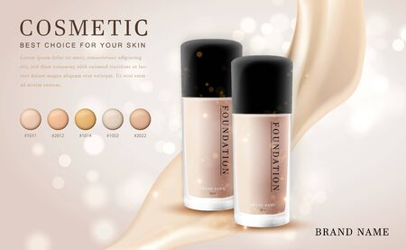 Vector 3D cosmetic make up illustration foundation product bottle with creamy shiny elegant background