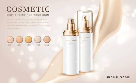 Vector 3D cosmetic make up illustration foundation product bottle with creamy shiny elegant background Vektorové ilustrace