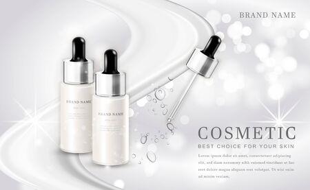 Bouteille de produit d'illustration de maquillage cosmétique de vecteur 3D avec le fond brillant blanc élégant
