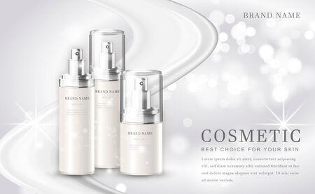 Vector 3D cosmetic make up illustration product bottle with elegant white shiny background Vektoros illusztráció