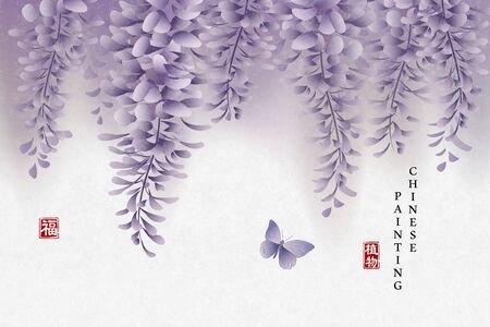 Chinese ink painting art background plant elegant flower Chinese Wisteria and butterfly. Chinese translation : Plant and Blessing.