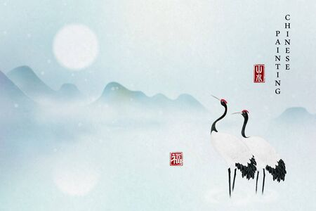 Chinese ink painting art background elegant tranquil landscape view of mountain full moon and Chinese crane bird standing on the lake. Chinese translation : Nature landscape and Blessing.