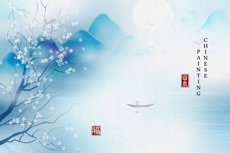 Chinese ink painting art background elegant landscape view of tranquil lake mountain and flower tree. Chinese translation : Landscape and Blessing.