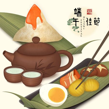 Happy Dragon Boat Festival background template traditional food rice dumpling mushroom pork belly salted duck egg chestnut and tea pot cup. Chinese translation : Duanwu and Blessing.