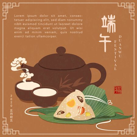 Happy Dragon Boat Festival background template traditional food rice dumpling bamboo leaf and hot tea pot cup. Chinese translation : Duanwu and Blessing