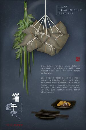 Happy Dragon Boat Festival background template traditional food rice dumpling and wormwood. Chinese translation : Duanwu and Blessing