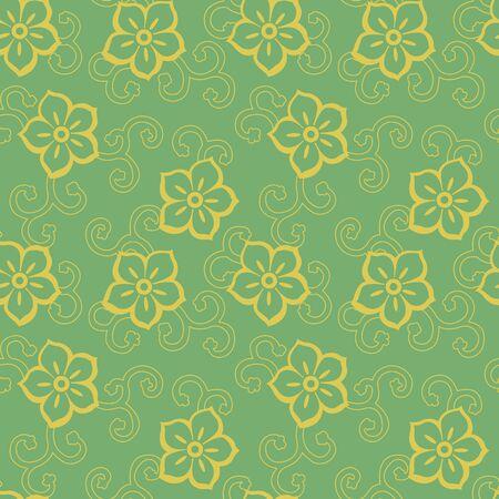 Retro vintage Chinese traditional pattern seamless background star cross flower plant vine 일러스트