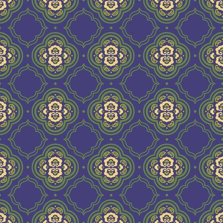 Retro vintage Chinese traditional pattern seamless background curve cross frame line botanic garden plant 일러스트