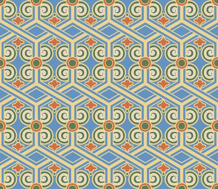 Retro vintage Chinese traditional pattern seamless background polygon cross frame spiral curve tracery