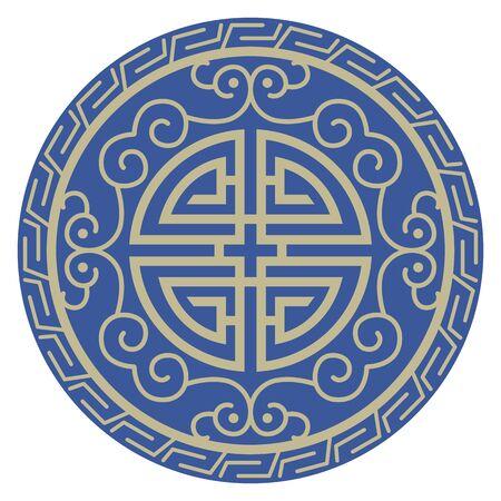 Oriental isolated pattern object spiral round frame vine chain