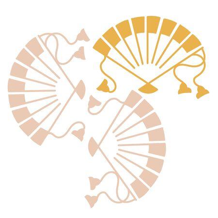 Oriental isolated pattern object three folding fan