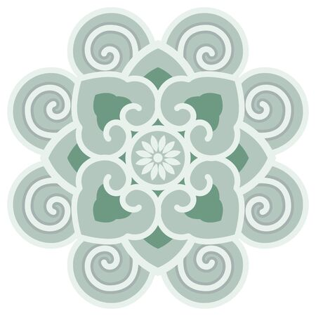 Oriental isolated pattern object round spiral curve cross vine frame flower