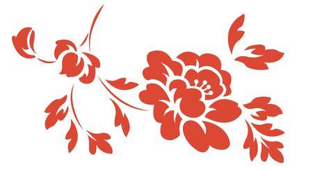 Oriental isolated pattern object botanic garden nature plant peony flower