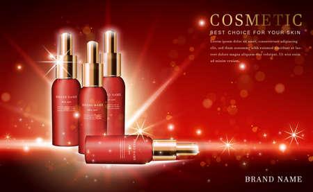Vector 3D cosmetic make up illustration product essence bottle with shiny red background Ilustracje wektorowe