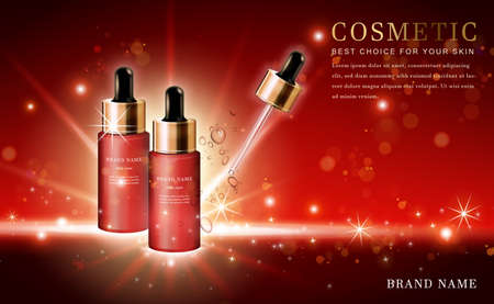 Vector 3D cosmetic make up illustration product droplet bottle with shiny red background