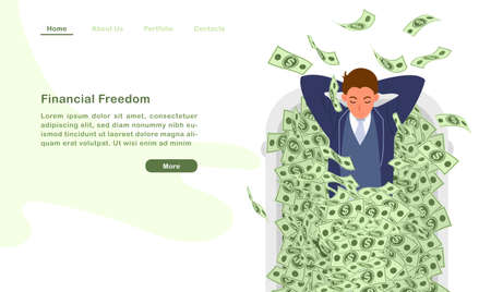 Website landing page template cartoon character a financila freedom man lying in bathtub with countless money bill