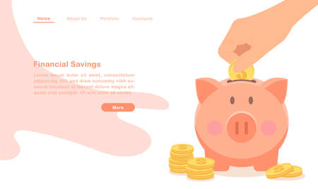 Website landing page template financial savings cartoon money pig and piles of coin 矢量图像