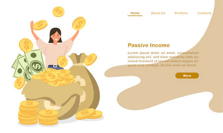 Website landing page template cartoon piles of coin bill and people cheering with coutless passive income