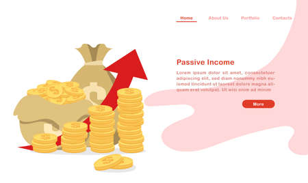 Website landing page template cartoon piles of coin and money bags 矢量图像