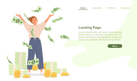Website landing page template cartoon become rich wealthy people happy with countless money