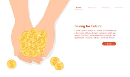 Website landing page template cartoon hand holding pile of coin