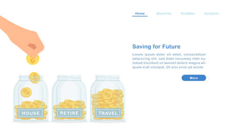 Website landing page template cartoon glass bottle and money coins saving for house retirement travel concept Ilustração