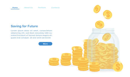 Website landing page template cartoon glass bottle and piles of coin saving for future