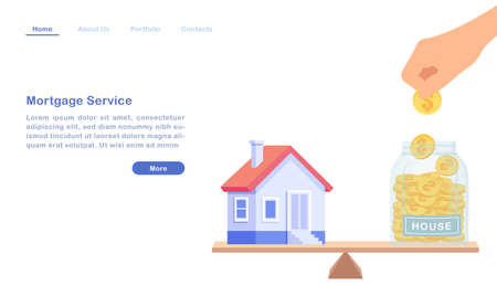 Website landing page template cartoon bank mortgage loan service house real estate property