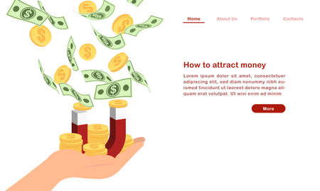 Website landing page template cartoon how to attract money concept finanacial currency bill golden coin and magnet Ilustração