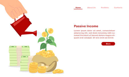 Website landing page template cartoon invest and grow your passive income concept piles of coin and bill with sprout green leaf
