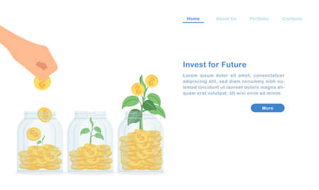 Website landing page template cartoon invest and grow your passive income for future concept bottles of coins and sprout green leaf
