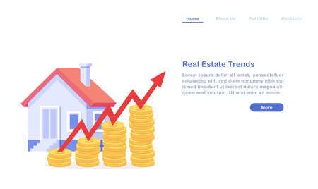Website landing page template cartoon real estate trends concept