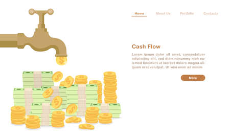 Website landing page template cartoon golden water tap faucet dropping money coin and bill cash flow concept