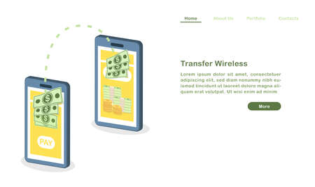 Website landing page template cartoon transfer money wireless with mobile phones 矢量图像