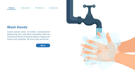 Website landing page template cartoon wash hands with soap bubbles antibacterial COVID‑19 pandemic concept