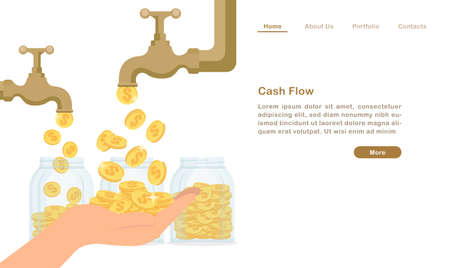 Website landing page template cartoon golden water tap faucet dropping money coin cash flow concept