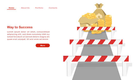 Website landing page template cartoon way to success hurdle on the way to wealth. Ilustração