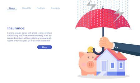 Website landing page template cartoon insurance for property wealth concept umbrella house money pig bad weather 矢量图像