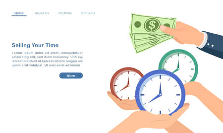 Website landing page template cartoon selling time work as salaried man to make money concept Ilustração