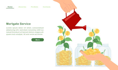 Website landing page template cartoon pouring water to money tree growing wealthy golden coin sprout concept Ilustração