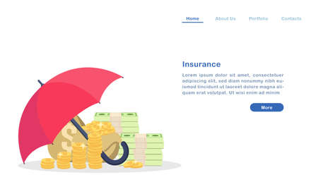 Website landing page template cartoon insurance for property wealth concept umbrella protecting money golden coin and bill Ilustração