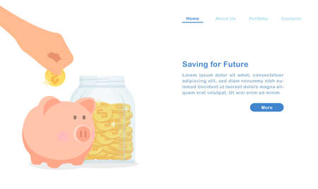Website landing page template cartoon saving money for future concept money pig and golden coin glass bottle