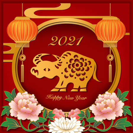 2021 Happy Chinese new year of ox paper cut art and craft relief peony flower lantern window frame.